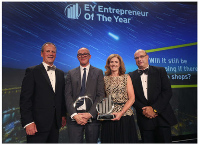 Michael Donovan of DHX Media (second from left) was named EY Entrepreneur Of The Year Atlantic 2015 at an awards gala in St. John's last night. Jim Lutes (far left), Colleen McMorrow of EY and Derek Purchase (far right) presented the award. (CNW Group/EY (Ernst & Young))