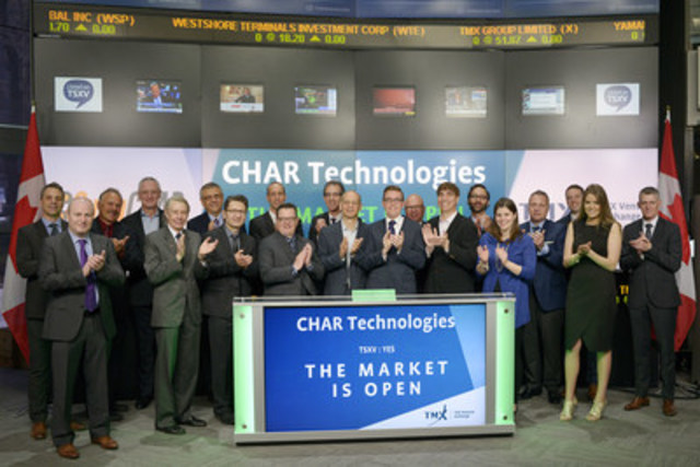 Andrew White, Chief Executive Officer, CHAR Technologies Ltd. (YES), joined Tim Babcock, Director, Listed Issuer Services, TSX Venture Exchange to open the market. Based in Mississauga, Ontario, CHAR Technologies Ltd. produces a proprietary activated charcoal like material (SulfaCHAR), which can be used to removed hydrogen sulfide from various gas streams (focusing on methane-rich and odourous air). CHAR Technologies Ltd. commenced trading on TSX Venture Exchange on April 8, 2016. (CNW Group/TMX Group Limited)