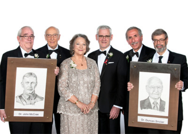 From left to right, John McCrae Kilgour (accepting on behalf of his great uncle, the late Dr. John McCrae), Dr. Bernard Langer, Dr. Judith Hall, Dr. Julio Montaner, Dr. Alan Bernstein, Dr. Richard Reznick (accepting on behalf of Dr. Duncan Sinclair who was unable to attend). (CNW Group/Canadian Medical Association)