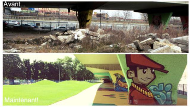 Le parc « sans nom » avant et après son aménagement (Groupe CNW/Ville de Montréal - Arrondissement du Plateau-Mont-Royal)