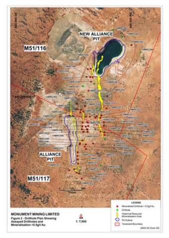 Appendix 4: Figure 2: Drillhole Location Plan (CNW Group/Monument Mining Limited)