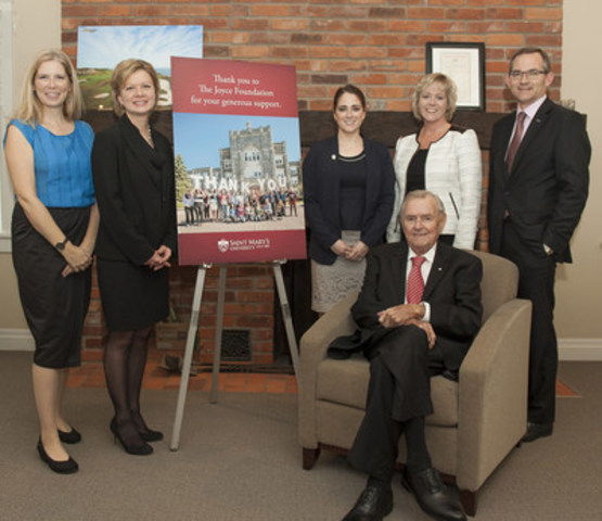 Saint Mary's University Receives Major Gift from The Joyce Foundation. From left to right are Maureen O'Neill, Administrator, The Joyce Foundation; Andrea Rosgen, The Joyce Foundation; Lauren Keyes, Saint Mary's University alumna; Heather Fitzpatrick, Director of Development, Saint Mary's University; Dr. Robert Summerby-Murray, President, Saint Mary's University; and sitting, Dr. Ron Joyce, The Joyce Foundation. (CNW Group/Saint Mary's University)