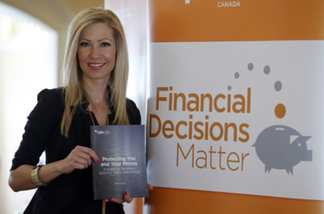 Canadians can fight back against scammers with the help of a new guide book from Chartered Professional Accountants of Canada (CPA Canada). Kelley Keehn, author of Protecting You and Your Money: A Guide to Avoiding Identity Theft and Fraud, is shown at the official book launch, Tuesday, March 25, 2014, in Ottawa. The book can be obtained by visiting www.cpacanada.ca/fraudprevention. (CNW Group/CPA Canada) (CNW Group/CPA Canada)