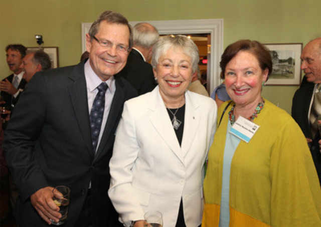 Jean-René Halde (L), President and CEO of Business Development Bank of Canada, and Justice Rosalie Abella (R), spoke at a farewell reception for Anne Golden (M), President and CEO of The Conference Board of Canada. Dr. Golden is retiring after 11 years as head of The Conference Board of Canada. (CNW Group/CONFERENCE BOARD OF CANADA)