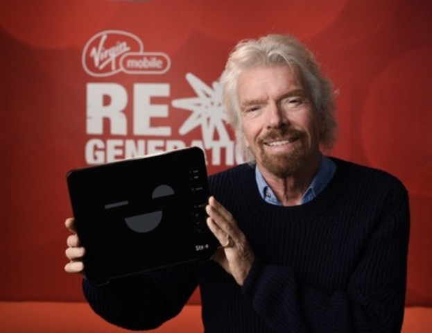 Sir Richard Branson and Steve are together to announce something exciting just in time for the holidays! (CNW Group/Virgin Mobile Canada)