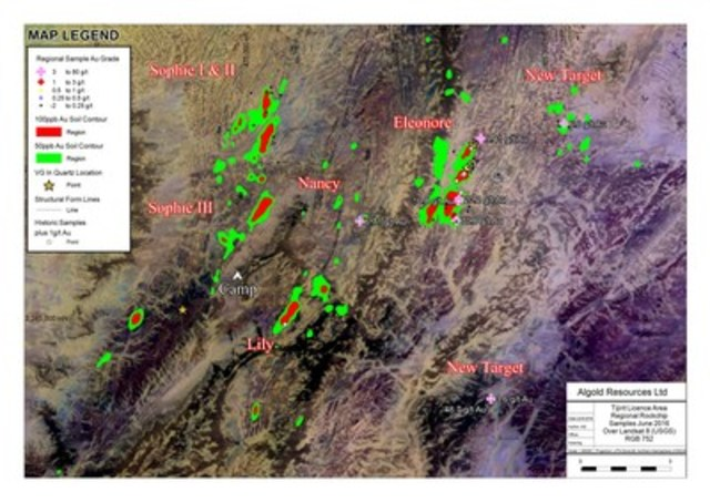 Figure 1: Results of the regional rock chip sampling program. (CNW Group/Algold Resources Ltd.)