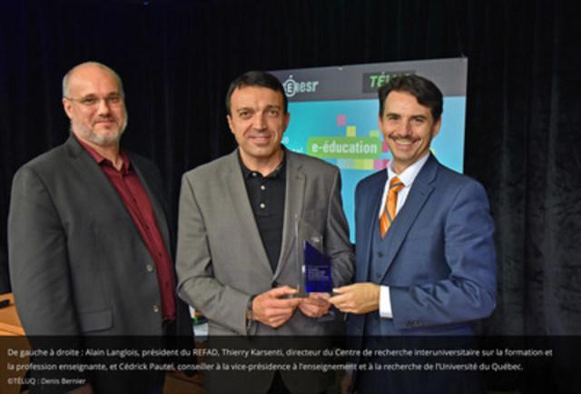 De gauche à droite, Alain Langlois, président du REFAD, Thierry Karsenti, directeur du Centre de recherche interuniversitaire sur la formation et la profession enseignante, et Cédrick Pautel, conseiller à la vice-présidence à l'enseignement et à la recherche de l'Université du Québec (Groupe CNW/TÉLUQ)