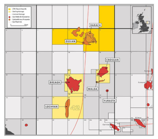 UK 27th Offshore Blocks Awarded to Sterling Resources North of the Existing Breagh Gas Field (CNW Group/Sterling Resources Ltd.)