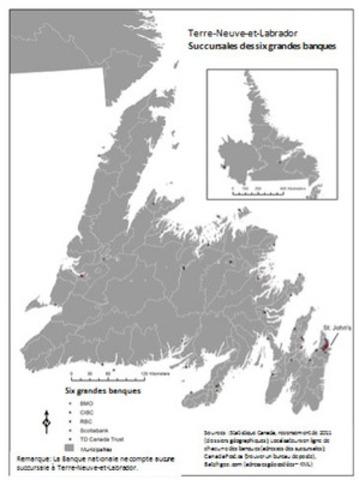 Terre-Neuve-et-Labrador - Succursales des six grandes banques (Groupe CNW/Syndicat des travailleurs et travailleuses des postes)