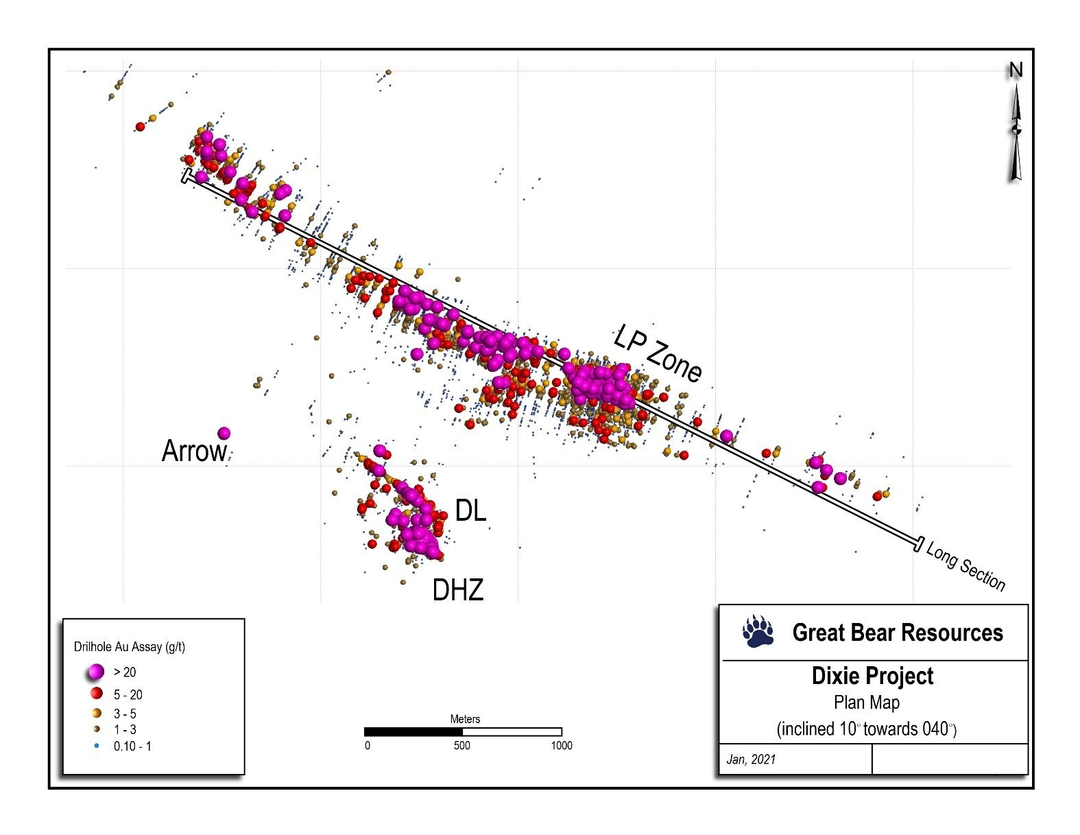 Figure 2: Inclined plan view of the Dixie Project's gold zones showing the trace of the long section in Figure 1. (CNW Group/Great Bear Resources Ltd.)