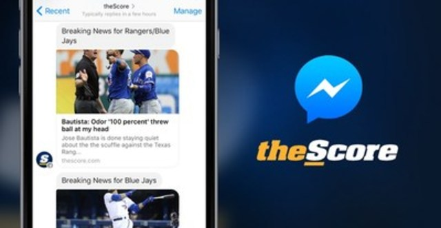 Get live sports scores and breaking news with theScore on Facebook Messenger (CNW Group/theScore, Inc.)