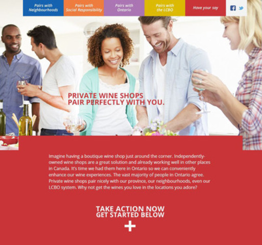 "Main ""Welcome"" page for the www.pairsperfectly.com website launched by the Wine Council of Ontario to increase support for private wine shops. (CNW Group/Wine Council of Ontario)"