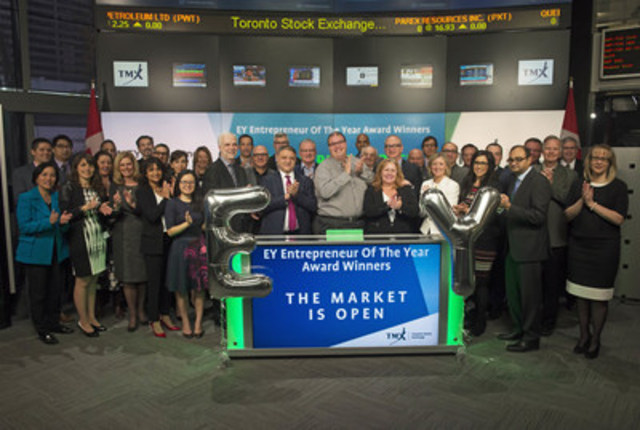 Francois Tellier, Partner and Canadian Growth Markets Leader, EY, joined Rob Peterman, Director, Global Business Development, Toronto Stock Exchange and TSX Venture Exchange to open the market to congratulate the winners of the 2016 EY Entrepreneur Of The Year awards and the EY Entrepreneurial Winning Women class of 2016. Also joining them were program sponsors, judges, supporters and the EY leadership team. EY Entrepreneur Of The Year Awards encourage entrepreneurial activity and celebrate those who are building and leading successful, growing and dynamic businesses. For more information please visit www.ey.com (CNW Group/TMX Group Limited)