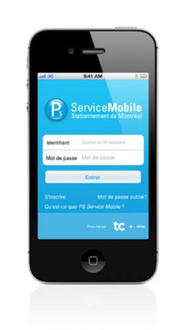 Nouvelle application P$ Service mobile proposée par Stationnement de Montréal et propulsée par TC Média, permettant aux automobilistes de payer à distance les frais de leur place de stationnement. (Groupe CNW/Stationnement de Montréal)