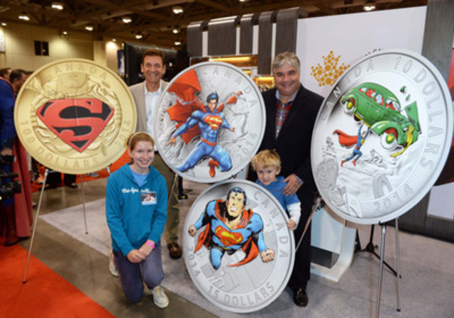 (From left to right) Patrick Hadsipantelis, VP of Marketing and Communications at the Royal Canadian Mint and the Honourable Peter Van Loan, Leader of the Government in the House of Commons are joined by his children Caroline Tolton and John Van Loan to unveil new collector coins featuring DC Comics' iconic Superman comic book covers at FAN EXPO Canada™ in Toronto.  (CNW Group/Royal Canadian Mint)