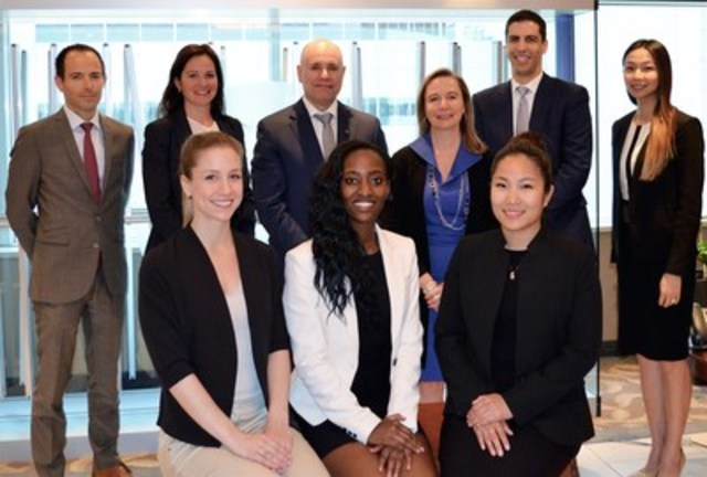 Executive Vice-President, Financial Markets, Denis Girouard (centre), is flanked by Benoit Pigeon, Isabelle Paquet, Susan Monteith, Noam Silberstein and Sandy Lam, with the three recipients of the seventh edition (seated): Jaime Cahill, Sandra Kagango, and Kwang Pithayachariyakul. (CNW Group/National Bank of Canada)