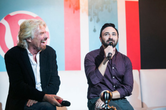 Virgin Group Founder Sir Richard Branson (left) and Virgin Mobile Canada Managing Director Joseph Ottorino (right) unveil how Virgin Mobile RE*Generation will help at-risk and homeless youth get jobs at the Virgin Mobile MOD Club on Monday, September 8th. (CNW Group/Virgin Mobile Canada)