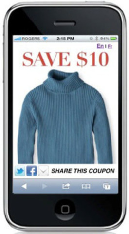 Sample of a retailcommon smartphone coupon. (CNW Group/retailcommon)