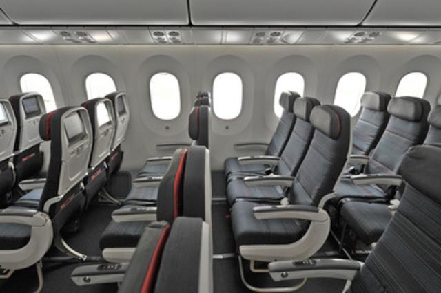La nouvelle cabine économique d'Air Canada, à bord de l'appareil 787 Dreamliner. (Groupe CNW/Air Canada)