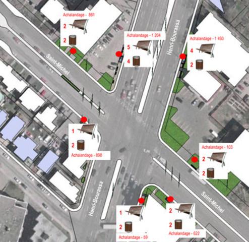 Installation prévue de mobilier urbain autour des sept arrêts d'autobus de l'intersection Saint-Michel et Henri-Bourassa. (Groupe CNW/Arrondissement de Montréal-Nord (Ville de Montréal))