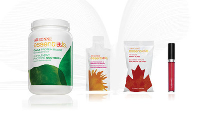 Arbonne International, LLC (Arbonne) is launching four new, advanced products including the Arbonne Essentials® Daily Protein Boost, Arbonne Essentials® Antioxidant & Immunity Support, Arbonne Essentials® Fit Chews – Berry Blast and Arbonne Makeup® Glossed Over Lip Gloss in Cardinal (left to right). (CNW Group/Arbonne International, LLC)