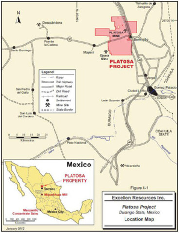 Map 1: Location Map - Platosa Property (CNW Group/Excellon Resources Inc.)