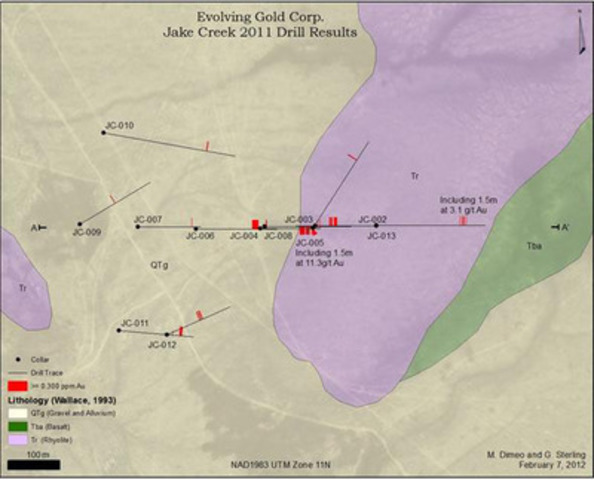 Evolving Gold Corp. Jake Creek 2011 Drill Results (CNW Group/Evolving Gold Corporation)