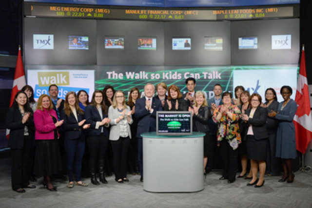 Sharon Wood, President and CEO, Kids Help Phone and Connie Stefankiewicz, Head, North American Channels & Strategy, BMO Financial Group, joined Sherri Brand, Managing Director, Strategic Initiatives, TMX CDS to open the market to raise awareness of The Walk so Kids Can Talk presented by BMO on May 3. The Walk so Kids Can Talk is a 5k walk fundraising campaign in support of child and youth mental health and well-being. It benefits kids, teens, and young adults in Canada, ensuring they have access to professional counseling support and clinically vetted information. BMO Financial Services is a Kids Help Phone founding partner sharing the commitment of fostering the emotional health and well-being of the young people in Canada.  (CNW Group/TMX Group Limited)