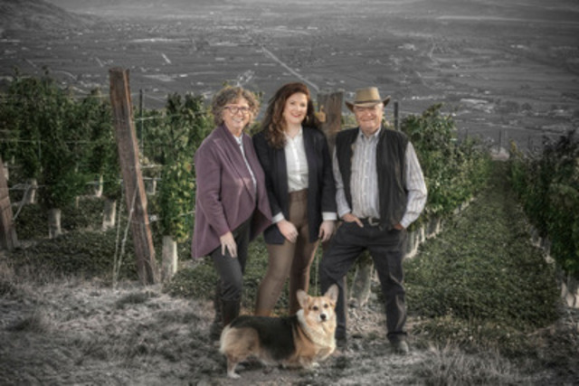 Elaine, Sara and Don Triggs with corgi Barry of Culmina Family Estate Winery (CNW Group/Culmina Family Estate ...