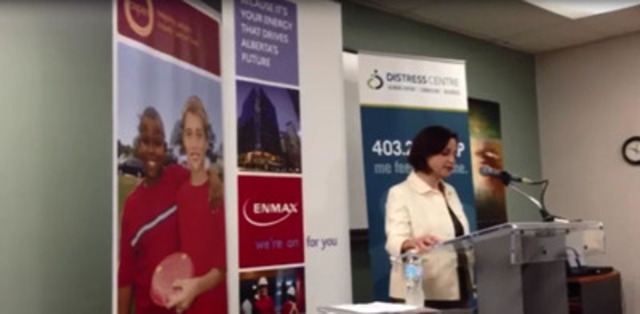 Gianna Manes, President and CEO, ENMAX Corporation announces a $300,000, three-year commitment to Aspen Family and Community Network Society and Distress Centre.