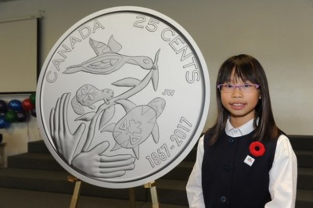 The Royal Canadian Mint revealed the winning designs for the Canada 150 circulation coins on November 2, 2016. Joelle Wong of Richmond Hill, Ontario designed the 25-cent coin called Hope for a Green Future. All five Canada 150 coin denominations will enter circulation in the spring of 2017. (CNW Group/Royal Canadian Mint)