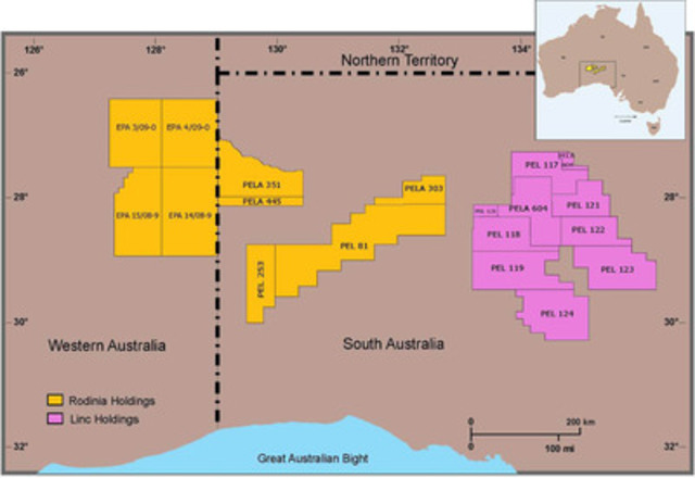 A map of Rodinia's (TSX-V: ROZ) Australian exploration holdings (CNW Group/Rodinia Oil Corp.)