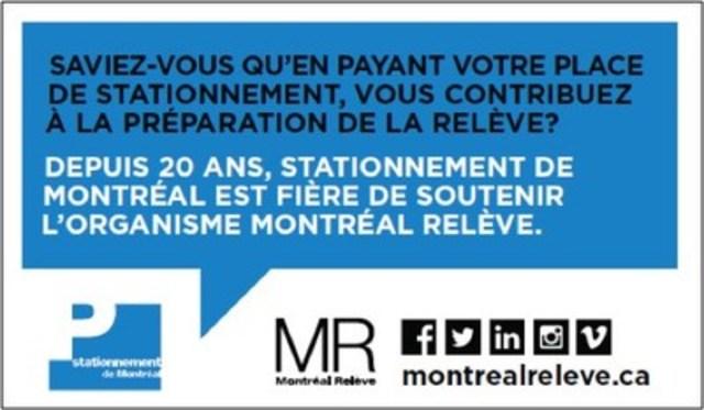 Dos des prochains coupons-reçu de stationnement, Montréal Relève, 2015 (Groupe CNW/Montréal Relève)