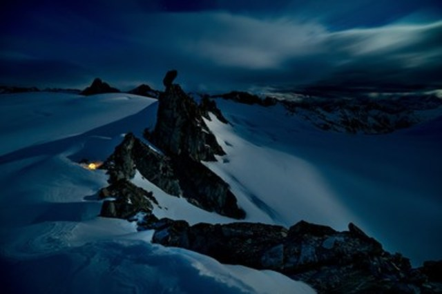 One of many windy, moonlit campsites on British Columbia's Homathko Icefield for the crew of A Skier's Journey (as seen in Crossing Home: A Skier's Journey). (CNW Group/Arc'teryx)
