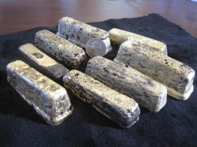 Figure 1. Part of the gold/silver bars poured from the 2012 Terra bulk sample (CNW Group/Corvus Gold Inc.)