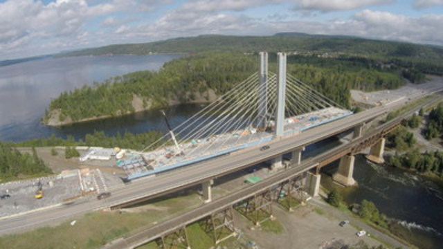 Hatch Mott MacDonald is providing construction administration and technical oversight of the new Nipigon River Bridge, Ontario's first cable-stayed bridge. Located along the TransCanada Highway east of Thunder Bay, the $106 million bridge is scheduled to open in the near future. (CNW Group/HATCH)
