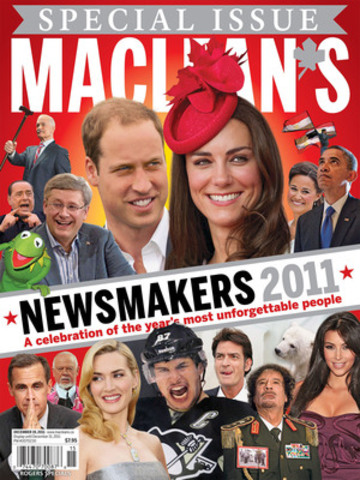 "Maclean's today announced its 7th annual Newsmakers of the Year for 2011: Prince William and Catherine Middleton. ""They were never very far from the headlines this year,"" Maclean's editor-in-chief said, in explaining the magazine's decision. Last year, the Newsmaker of the Year was Sidney Crosby. (CNW Group/Maclean's Magazine)"