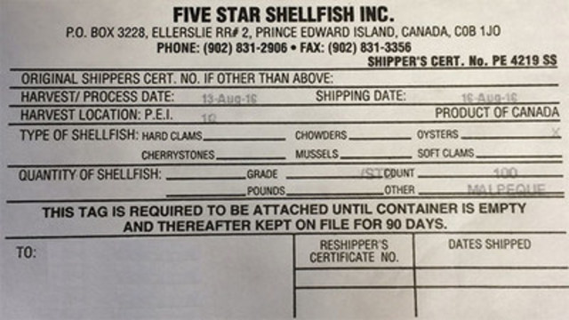 Five Star Shellfish Inc. - 100 count (CNW Group/Canadian Food Inspection Agency (CFIA))