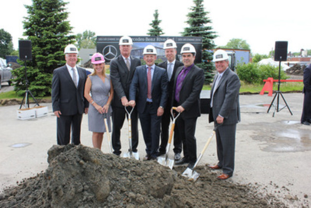 From left-to-right: Marc Champagne, Operations Manager of Mercedes-Benz Rive-Sud (MBRS); Carolynn Leclair, Vice President of MBRS; Tim A. Reuss, President and CEO of Mercedes-Benz Canada (MBC); François Leclair, General Manager of MBRS; Hans-Jörg Mehl, Vice President and CFO of MBC; Steve Gosselin, Vice President, Finance of MBRS; Claude Leclair, President of MBRS. (CNW Group/Mercedes-Benz Canada Inc.)