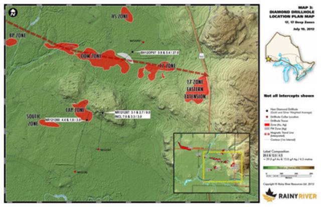 Map 3 - 17 Zone Plan View (CNW Group/Rainy River Resources)