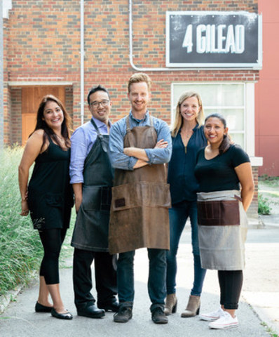 Feast Culinary Team outside the new Toronto kitchen, Hassel Aviles, Randy Rojas, Curt Martin, Trish Magwood, and Veronica Mal. (CNW Group/Feast Inc)