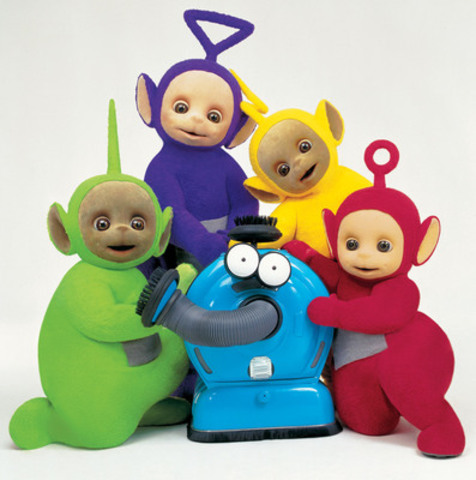 Canada's DHX Media (TSX:DHX) today announced plans to produce 60 brand new episodes for its iconic children's television property, Teletubbies, for CBeebies in the UK. Teletubbies characters shown: Dipsy (green), Tinky Winky (purple), Laa-Laa (yellow), and Po (red), and Noo Noo, their vacuum cleaner. (CNW Group/DHX Media Ltd.)