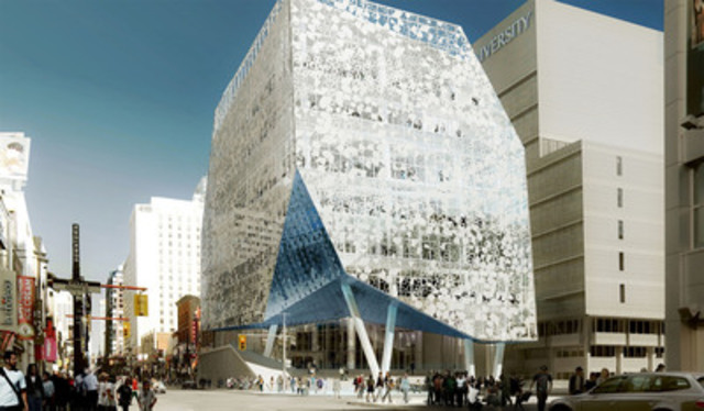 Artist's rendering of the exterior of the Ryerson University's Student Learning Centre. View looking north on Yonge Street. Photo courtesy of Ryerson University. (CNW Group/EllisDon Corporation)