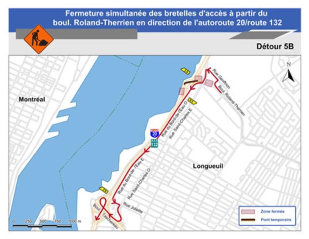 Fermeture simultanée des bretelles d'accès à partir du boul. Roland-Therrien en direction de l'autoroute 20/route 132 - Détour 5B (Groupe CNW/Ministère des Transports)