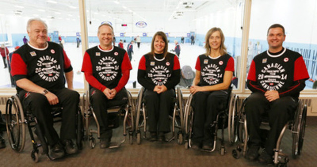 Veteran-laden Canadian wheelchair curling team nominated for Sochi 2014 Paralympic Winter Games: skip Jim Armstrong (Cambridge, Ont.), vice-skip Dennis Thiessen (Sanford, Man.), second Ina Forrest (Armstrong, B.C.), lead Sonja Gaudet (Vernon, B.C.) and alternate Mark Ideson (London, Ont.). (CNW Group/Canadian Paralympic Committee (CPC))