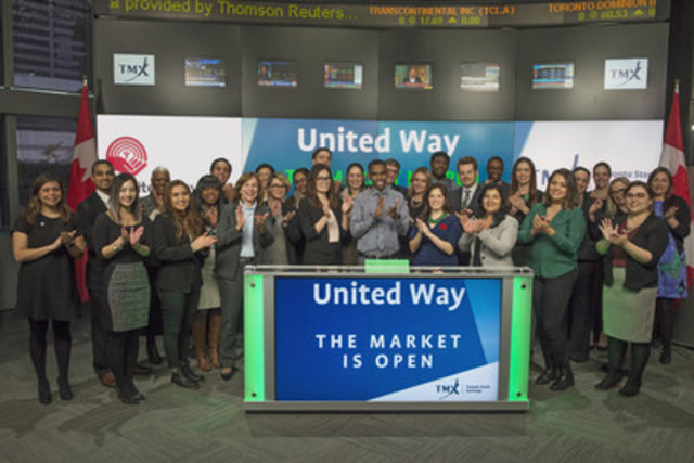 Adam Hess, Manager, Resource Development, United Way Toronto & York Region joined Jean Desgagne, President and CEO, Global Enterprise Services TMX Group to open the market to kick-off TMX Group's national workplace United Way campaign. United Way is a worldwide not-for profit supporter of social services, dedicated to creating opportunities for people to build a better life. In Canada, United Way operates in more than 100 communities raising support and building partnerships to responds to needs locally. For more information, please visit http://www.unitedwaytyr.com/home (CNW Group/TMX Group Limited)