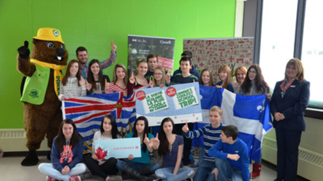 The winning secondary 2 (grade 8) class from École Antoine-Roy in Gaspé, Quebec, readies to embark on Canada's Coolest School Trip. (CNW Group/Parks Canada)