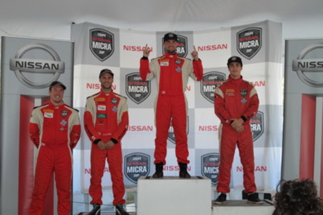 Final championship podium, from left to right : Stéfan Gauthier (rookie of the year), Kevin King (third), Xavier Coupal (champion) and Olivier Bédard (runner-up) (CNW Group/Nissan Canada Inc.)