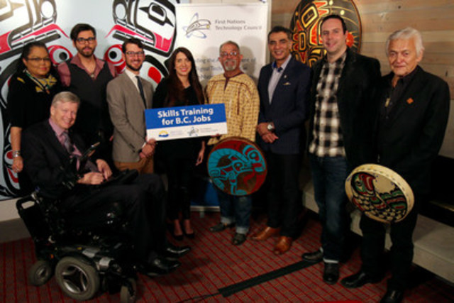 From left to right: Vancouver-False Creek MLA Sam Sullivan, Kwakiutl Chief Coreen Child, Social Entrepreneur Patrick Shannon, Lighthouse Labs Vancouver CTO Jeremy Shaki, First Nations Technology Council Executive Director Denise Williams, Skwachays Lodge Sweat Lodge Keeper and Medicine Man Old Hands, Minister of Technology, Innovation and Citizens' Services Amirk Virk, Animikii Inc. CEO Jeff Ward, N'amgis First Nation Hereditary Chief Bill Cranmer. (CNW Group/First Nations Technology Council)