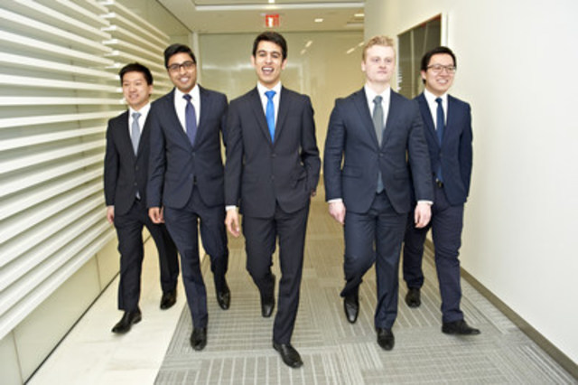 (Left to right: Rudder Zhang, Adnan Khan, Kam Dhaliwal, Brent Small, Daniel Zhang) (CNW Group/CFA Society Toronto)